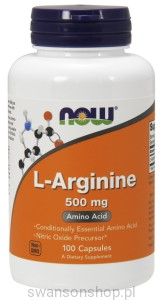 NOW Foods L-arginina 500mg 100kaps