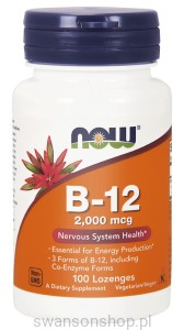 NOW Foods B-12 2,000 mcg – witamina B 12 – 100 pastylek do ssania