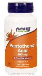 NOW Foods Pantothenic Acid – Kwas pantotenowy 500 mg B-5