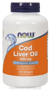 NOW Foods Cod Liver Oil – Tran 650 mg – 250 kapsułek
