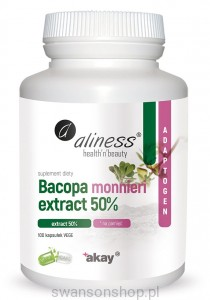 Aliness Bacopa monnieri extract 50%, 500 mg x 100 Vege Caps